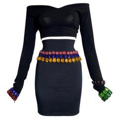 F/W 1991 Dolce & Gabbana Rainbow Crystal Black Crop Top High Waist Mini Skirt
