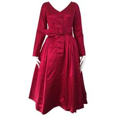 1950s GALANOS Magenta Red Silk Cocktail Dress