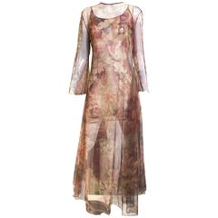 90s GIANFRANCO FERRE sheer print 2 pcs ensemble