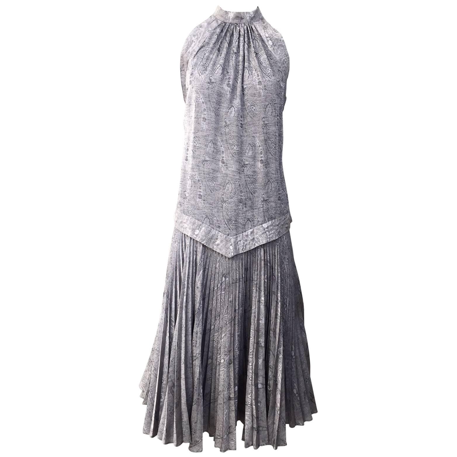 Vintage Ted Lapidus grey silk plissè halter dress