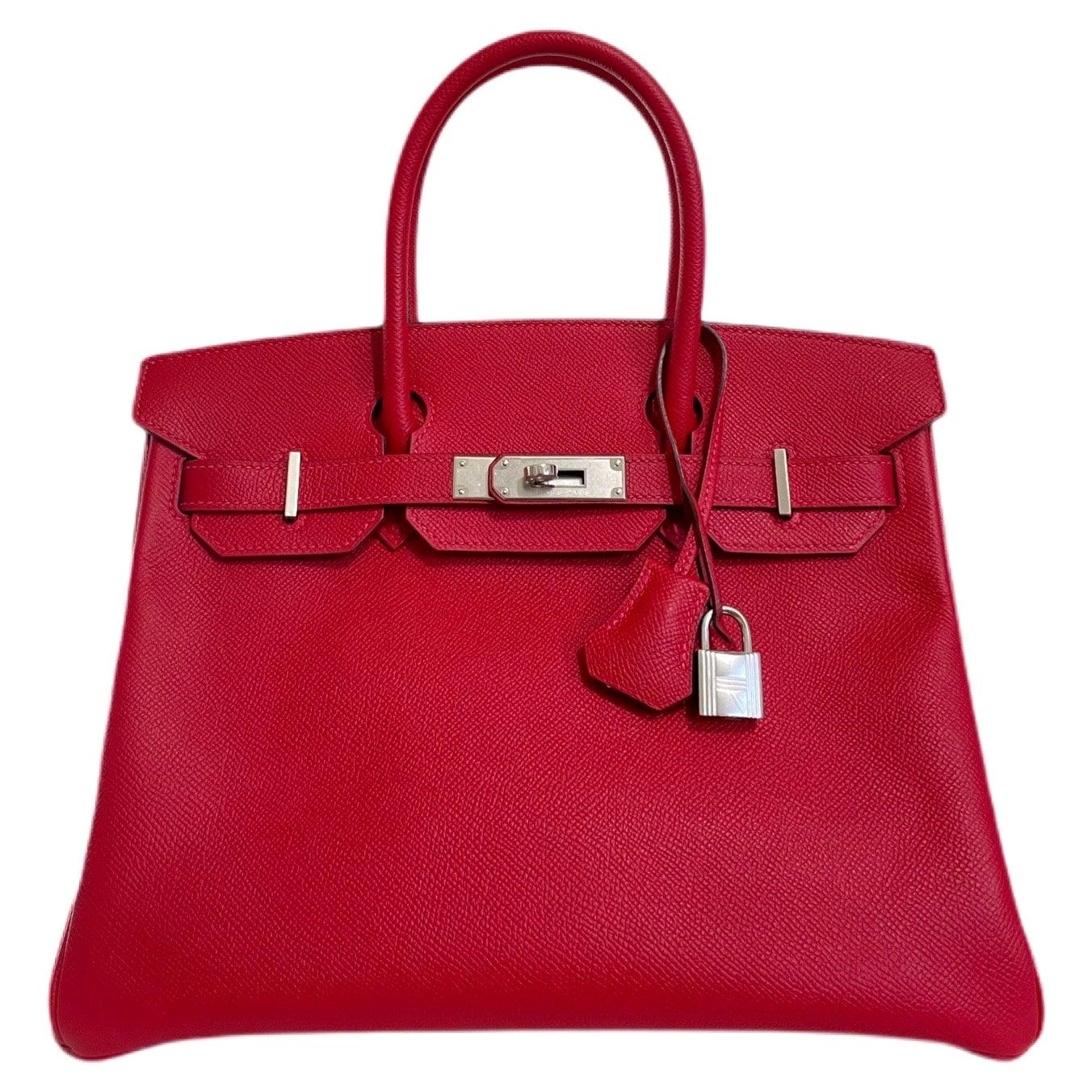 Hermes Birkin 30 Rouge Casaque Red Epsom Leather Palladium Hardware