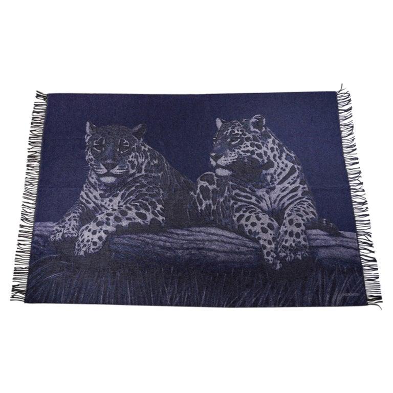 Hermes Jaguars Du Bresil Blanket Bleu Cashmere New w/ Box For Sale