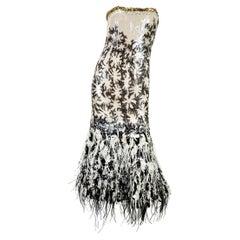 New $10950.00 Oscar De La Renta S/S 2008 Runway Sequin Feather Corset Dress US 6