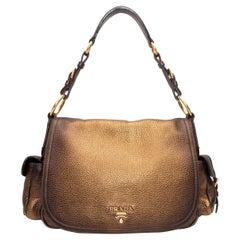 Prada Metallic Vitello Daino Antik Shoulder Bag