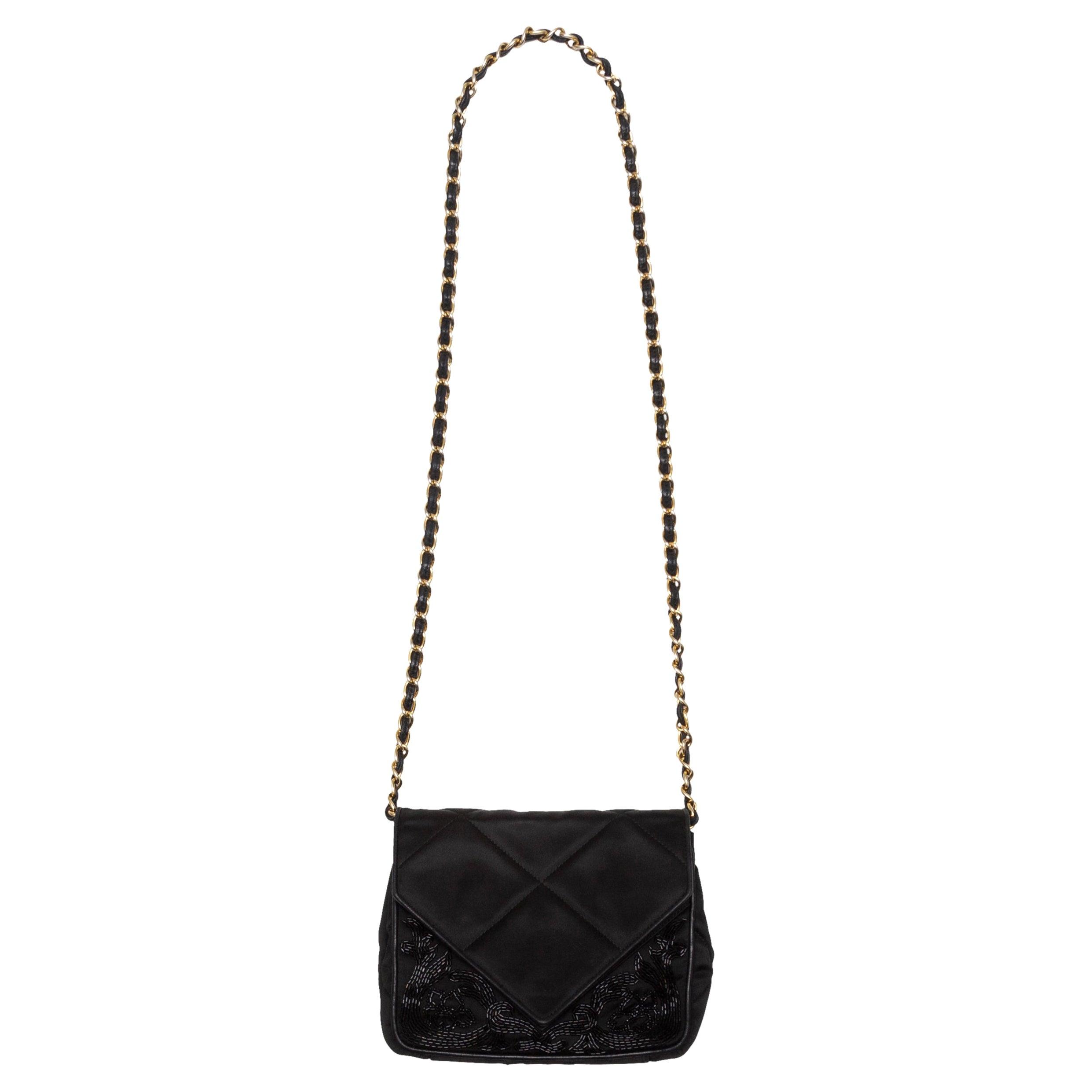 Chanel Black Beaded Satin Evening Bag