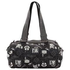 Chanel Airline Shoulder Boston Bag Printed Nylon Medium