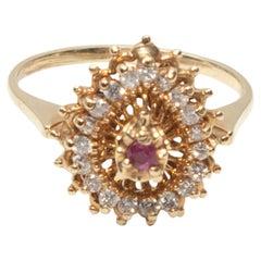 Diamond & Ruby Pinky 14K Gold Ring