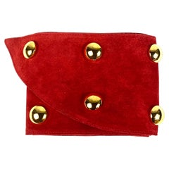 Yves Saint Laurent Rive Gauche Red and Gold Suede Wide Belt