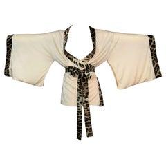 2006 Roberto Cavalli Leopard Silk & Cashmere Kimono Jacket