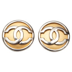 Chanel Gold & Silver CC Clip-On Earrings