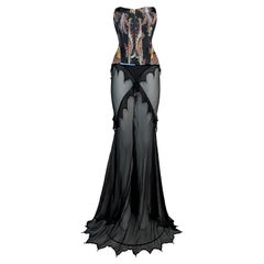 2003 Roberto Cavalli Gypsy Satin Bustier & Sheer Black Embellished Maxi Skirt Se