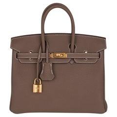 Hermes Birkin 25 Bag Etoupe Togo Gold Hardware Neutral Perfection