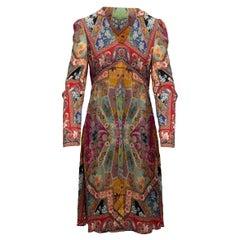 Etro Multicolor Long Sleeve Paisley Print Dress