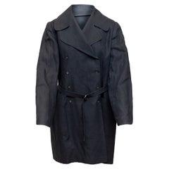 Morgane Le Fay Navy Linen Double-Breasted Coat