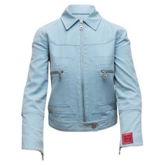 Chanel Baby Blue Identification Cotton Biker Jacket