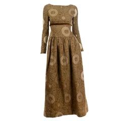 Vintage 1970s Bill Blass Brown Circle Print Dress With Velvet Ribbon