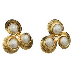 Vintage Massive MERCEDES ROBIROSA Triple Textured Pearls Disc Earrings