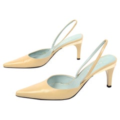 Gucci Slingback Beige Tan Heels With Gold Bands