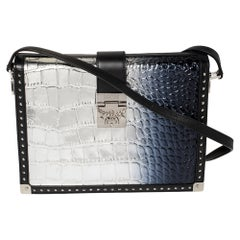 MCM Silver Ombre Croc Embossed Patent and Leather Mitte Degrade Shoulder Bag