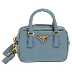 Prada Blue Saffiano Lux Leather Mini Bauletto Bag