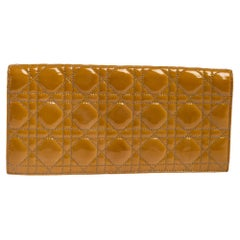 Dior Beige Cannage Patent Leather Lady Dior Clutch