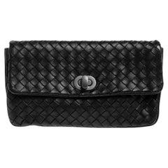 Bottega Veneta Black Intrecciato Leather Turnlock Pouch