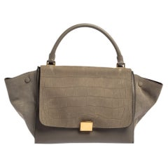 Celine Grey Croc Embossed Leather and Suede Medium Trapeze Top Handle Bag