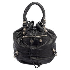 Balenciaga Black Leather GSH Pompon Bag