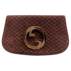 Gucci Vintage Brown GG Monogram Suede Blondie Clutch Bag