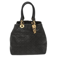 Dior Black Cannage Leather Soft Lady Dior Tote