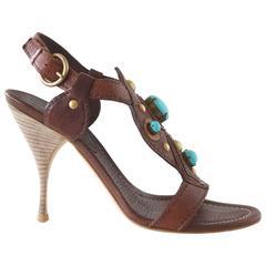 Miu Miu Shoe High Heel Sandal Bold Turquoise Stones 37 / 7