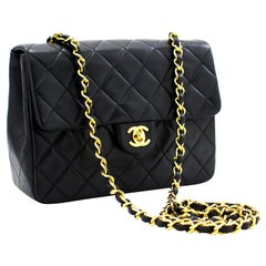 CHANEL Mini Square Small Chain Shoulder Crossbody Bag Black Purse