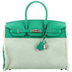 New Hermes  Rare Birkin 35 Fray Fray Mint Bag with Box