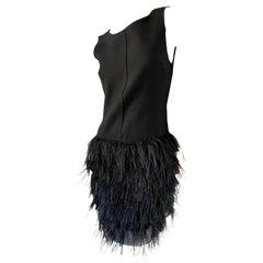 D&G by Dolce & Gabbana Vintage Feather Trim Black Cocktail Dress