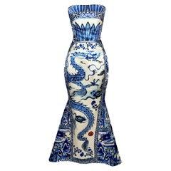 F/W 2005 Roberto Cavalli Runway Met Chinoiserie Dragon Mermaid Gown Dress