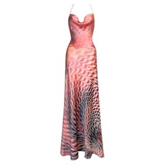 S/S 2001 Roberto Cavalli Pink Psychedelic Print Silk Maxi Gown Dress