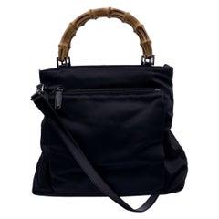 Gucci Vintage Black Canvas Bamboo Tote Handbag with Strap