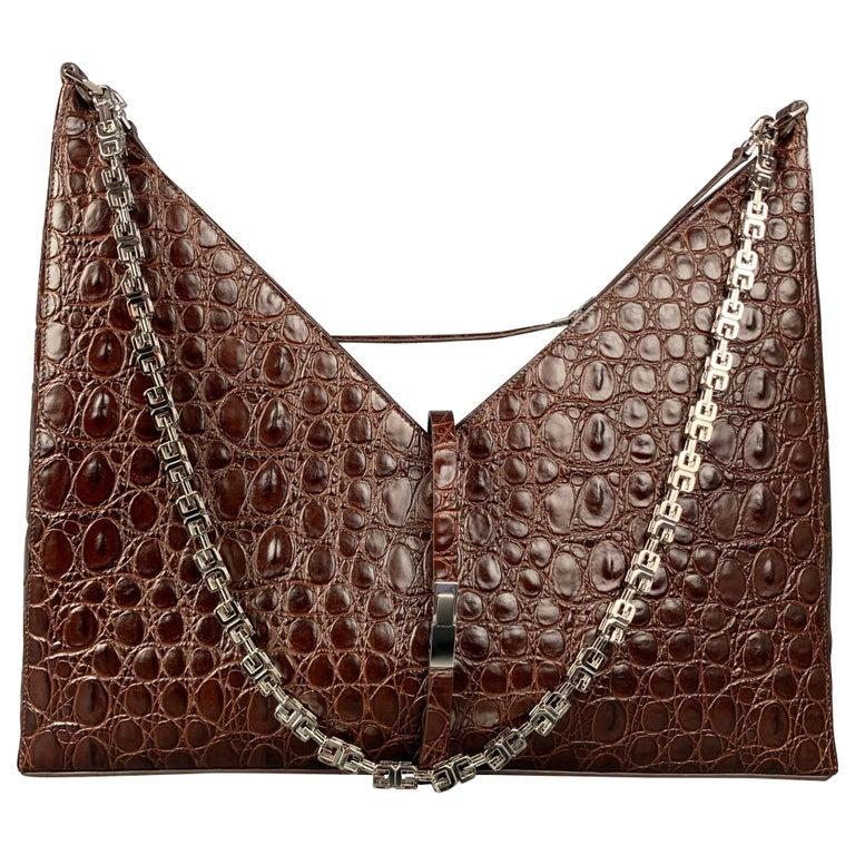 GIVENCHY Large Cut Out Bag Brown Embossed Croc Leather Shoulder Unisex Handbag For Sale