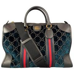GUCCI Blue Black GG Monogram Velvet Duffle Medium Boston Bag
