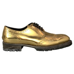 DOLCE & GABBANA Size 11 Gold Metallic Leather Lace Up Shoes