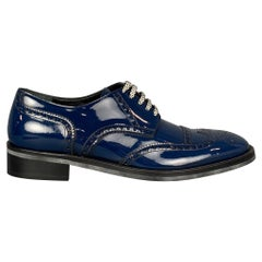 DOLCE & GABBANA Size 10 Blue Perforated Leather Lace Up Shoes