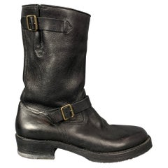 CoSTUME NATIONAL Size 10 Black Leather Belted Pull On Boots