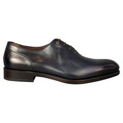 SALVATORE FERRAGAMO Tramezza Size 10.5 Black Leather Lace Up Shoes