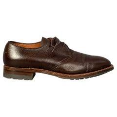 ALDEN 9410 Size 10 Brown Pebble Grain Leather Lace Up Lace Up Shoes