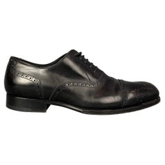 TOM FORD Edward Size 10.5 Black Perforated Leather Cap Toe Lace Up Shoes