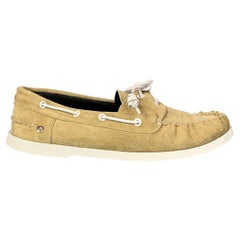 LOEWE Size 11 Natural Leather Boat Shoe Loafers