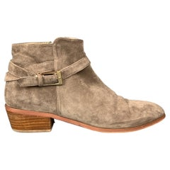 BARNEY'S NEW YORK Size 9 Taupe Suede Ankle Strap Boots