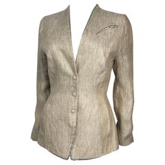 Thierry Mugler Beige & Gold Linen Jacket