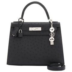 Hermes Kelly 28cm Black Ostrich Sellier Shoulder Bag Z Stamp, 2021