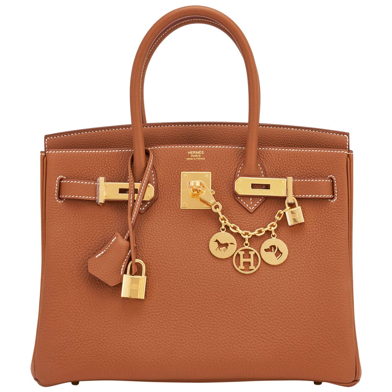 Hermes Birkin 30cm Gold Camel Tan Togo Gold Hardware Bag Z Stamp, 2021